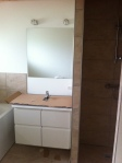 Voksen-badeværelsets håndvask og spejl.